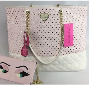 Betsy Johnson Lg Tote Faux White/Pink Chain Strap